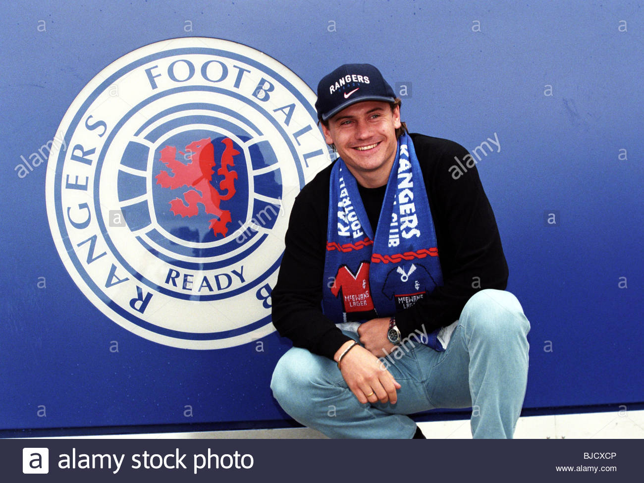 15/07/98 IBROX - GLASGOW New Rangers signing Andrei Kanchelskis outside the club's Ibrox superstore. - Stock Image