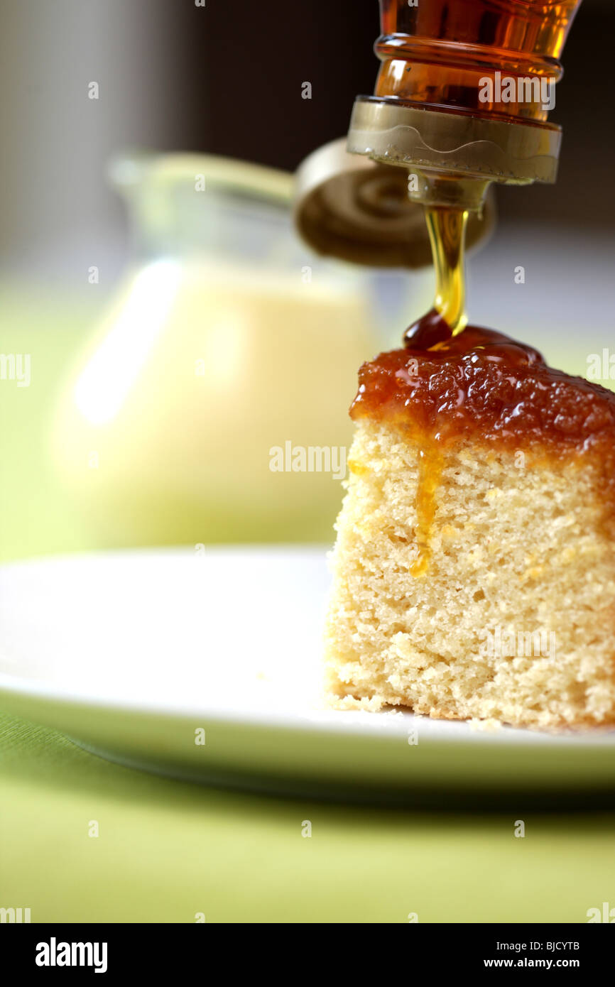 Freshly Baked Syrup Sponge Pudding Dessert With No People Stock Photo