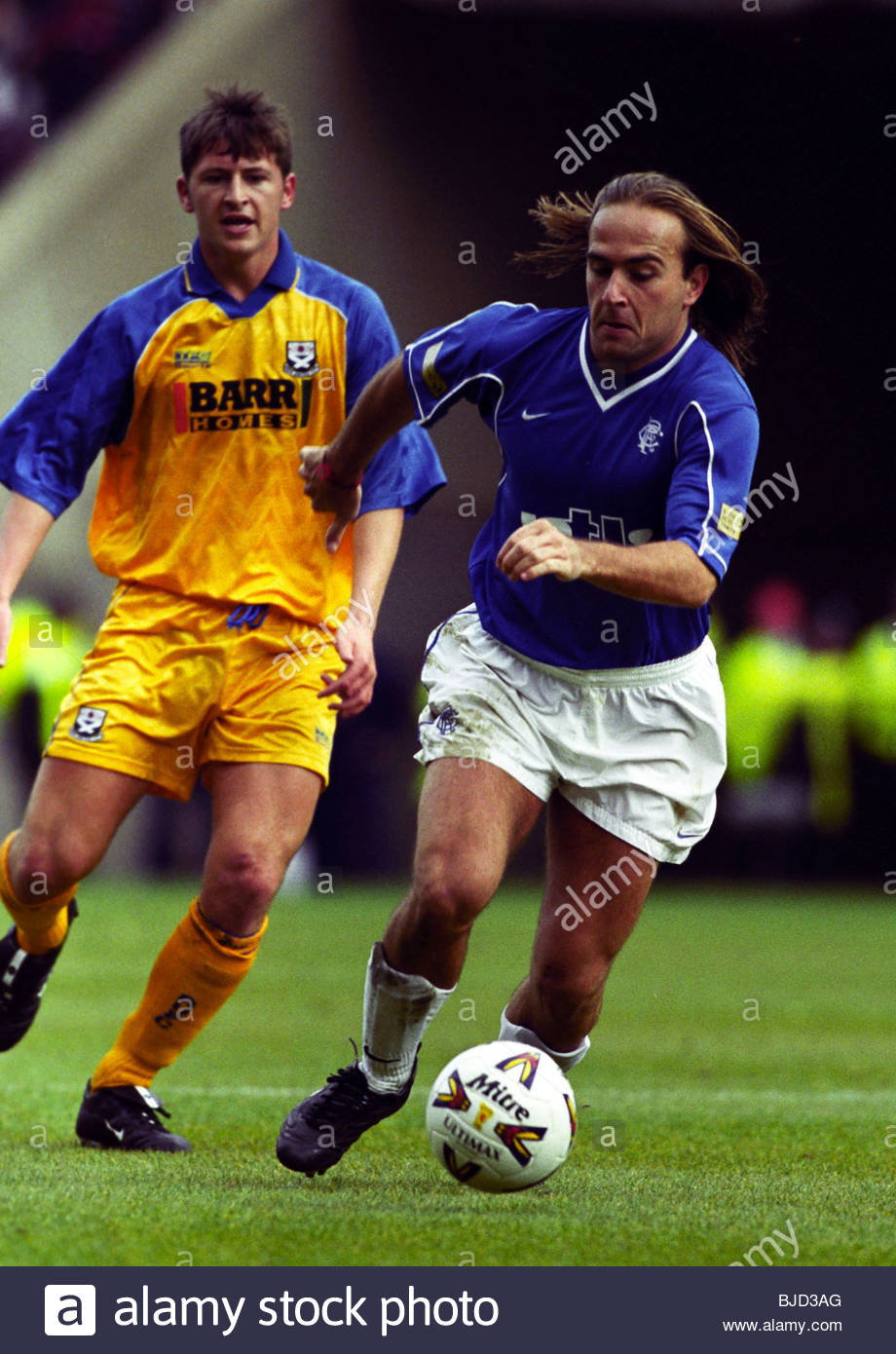 08/04/00 TENNENT'S SCOTTISH CUP SEMI-FINAL AYR UTD v RANGERS (0-7) HAMPDEN - GLASGOW Sebastian Rozental in action - Stock Image