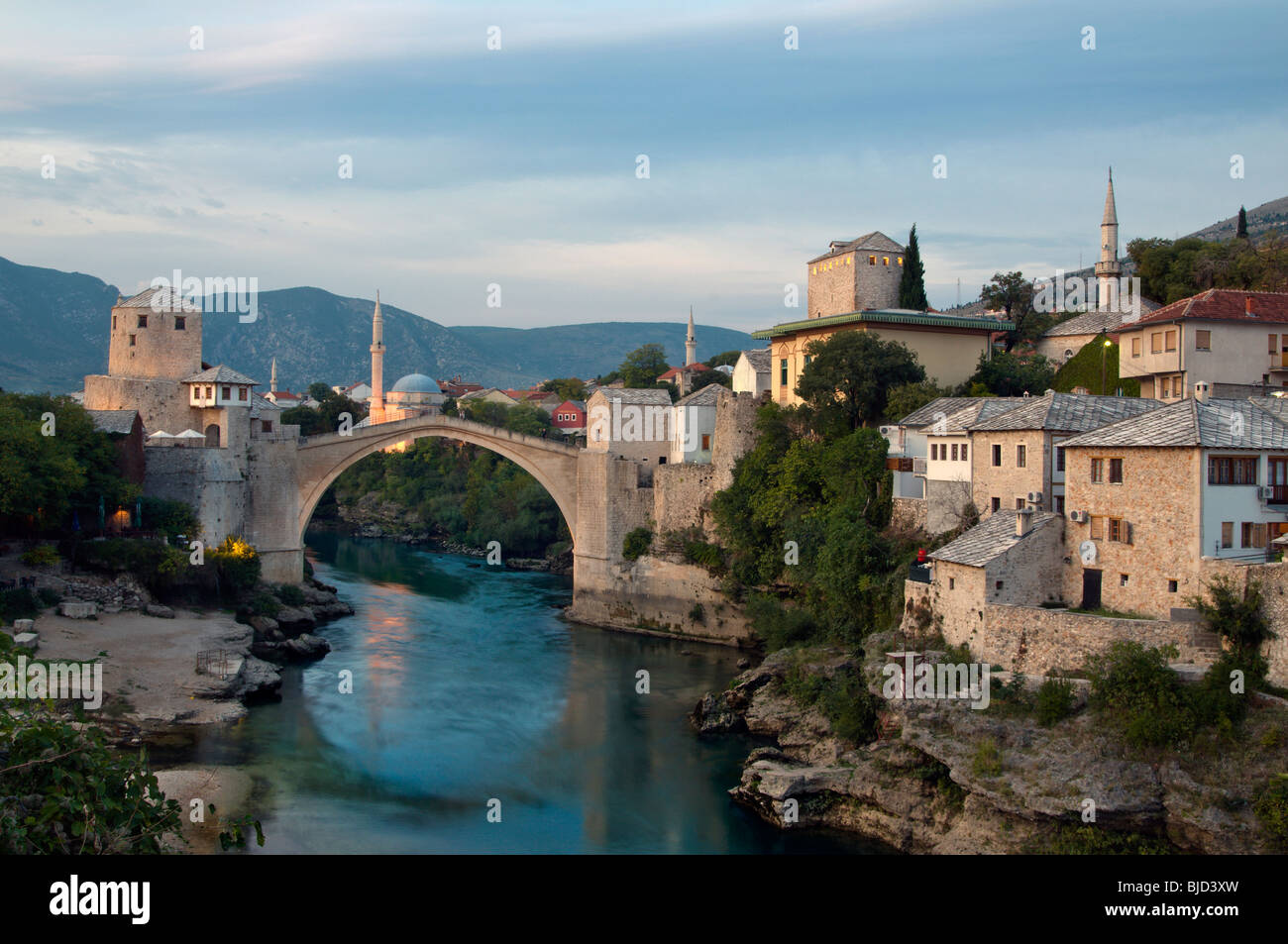 Historic Old Town and Stone Bridge of Mostar and Neretva River  in Bosnia Herzegovina - Stock Image