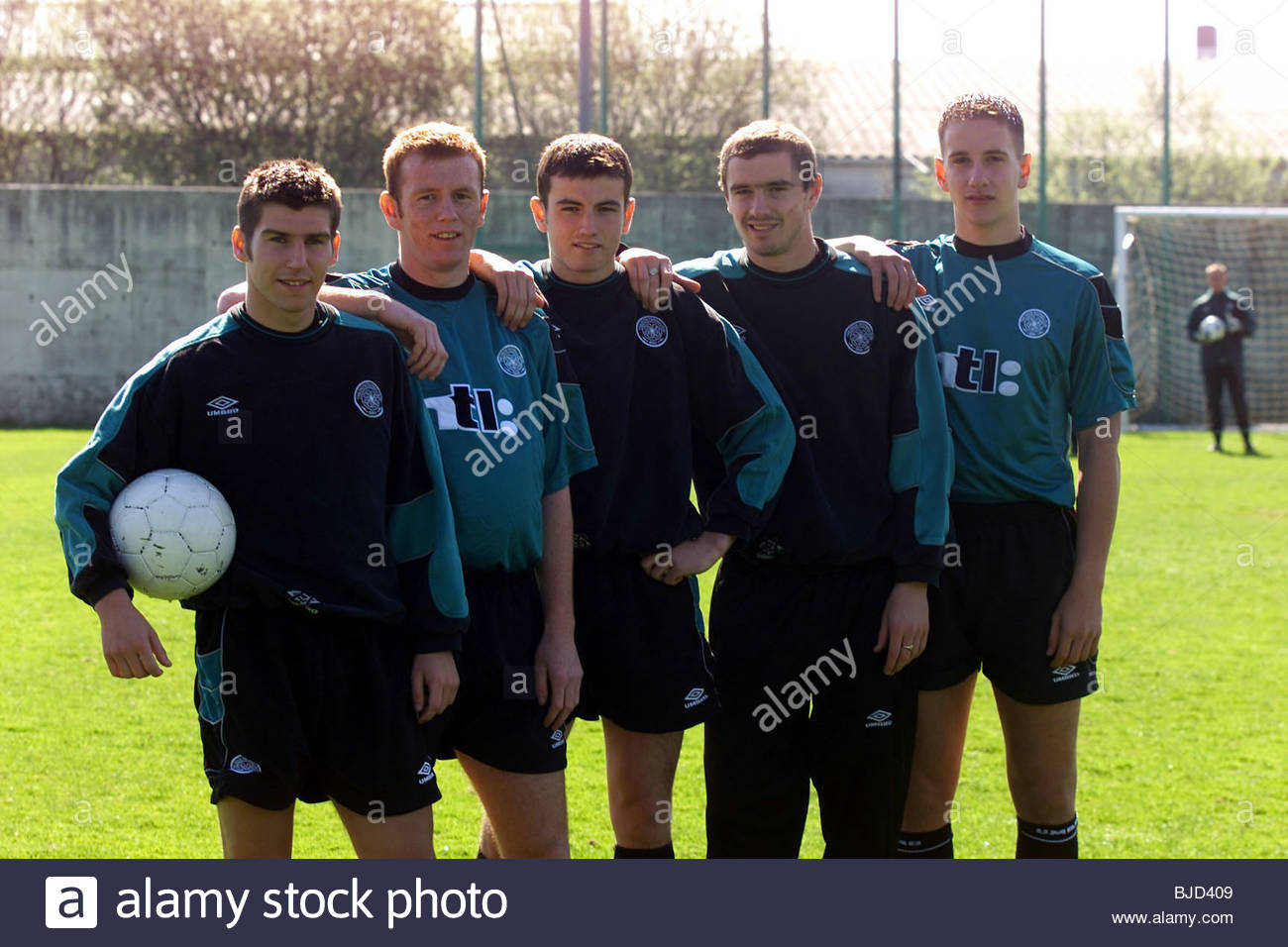 05/05/00 Celtic's (from left) Mark Burchill, Stephen Crainey, Simon Lynch, Colin Healy and John Kennedy at training - Stock Image