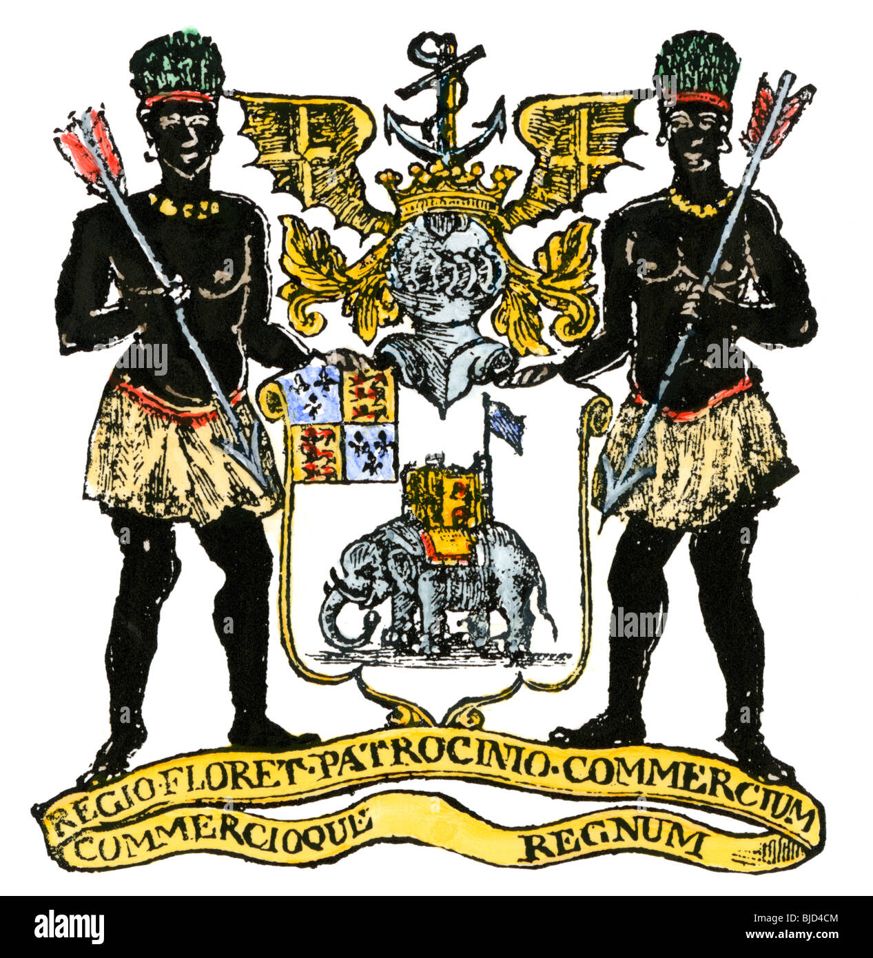 African Company arms, incorporated in London in 1588. Hand-colored woodcut - Stock Image