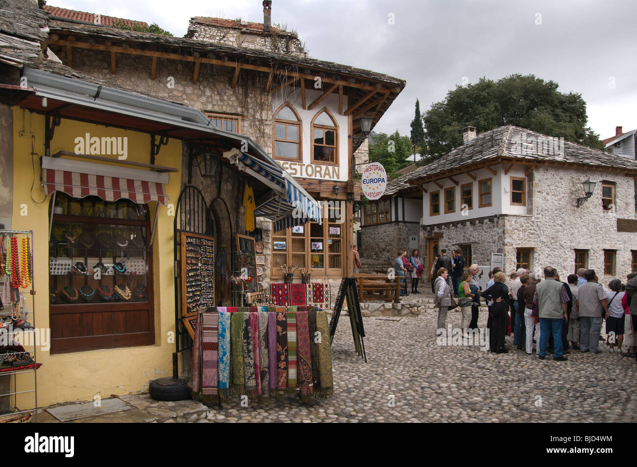 Historic Old Town of Mostar in Bosnia Herzegovina - Stock Image