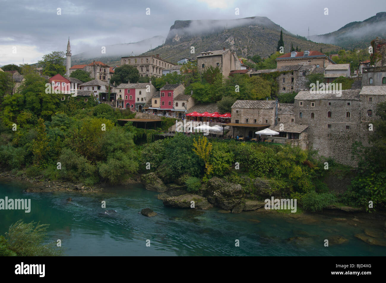 Historic Old Town of Mostar and Neretva River  in Bosnia Herzegovina - Stock Image