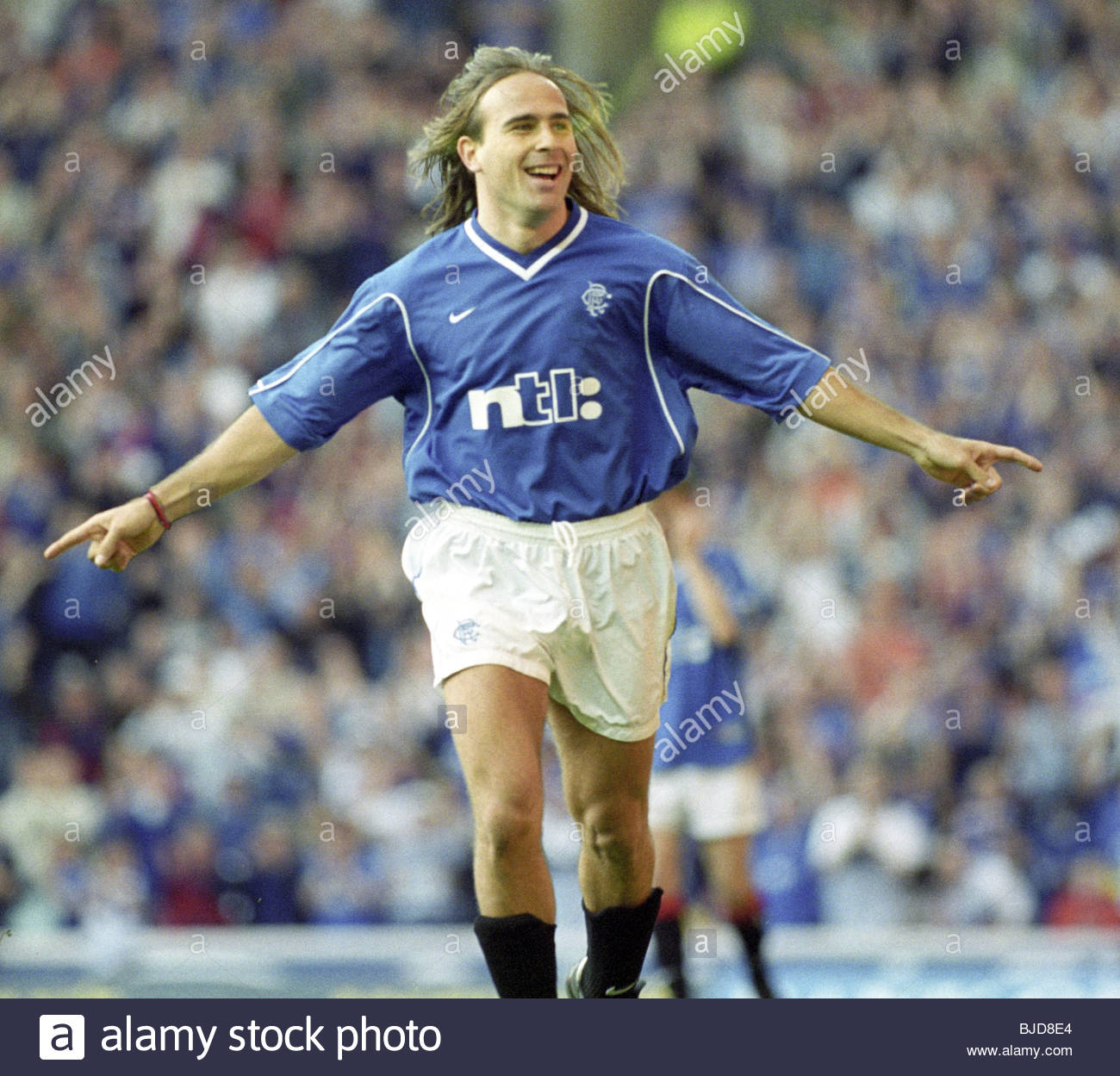 30/04/00 SPL RANGERS V DUNDEE (3-0) IBROX - GLASGOW Sebastian Rozental celebrates after scoring Rangers' third - Stock Image