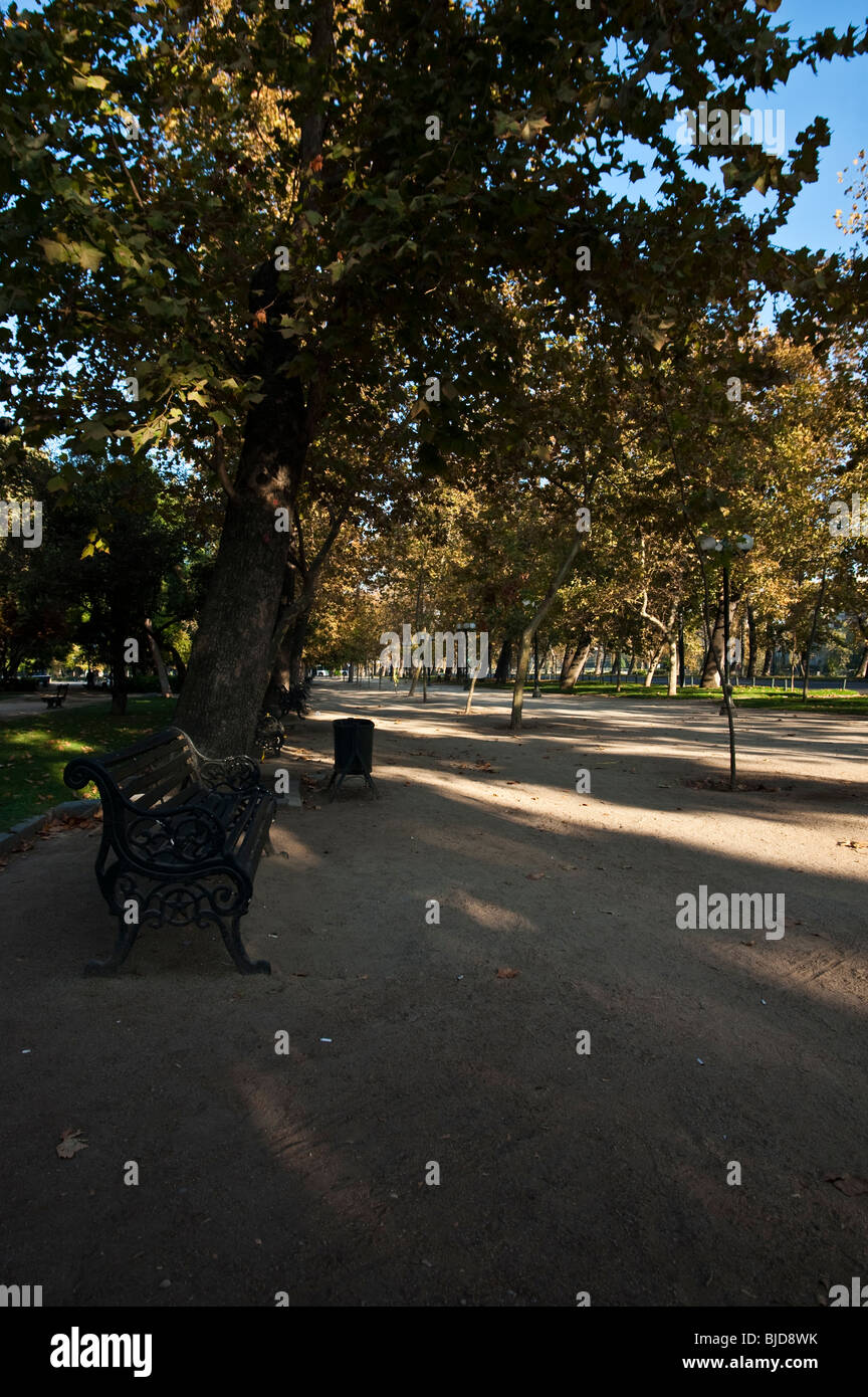 Parque Forestal is an urban park in the capital city of Santiago de Chile. - Stock Image