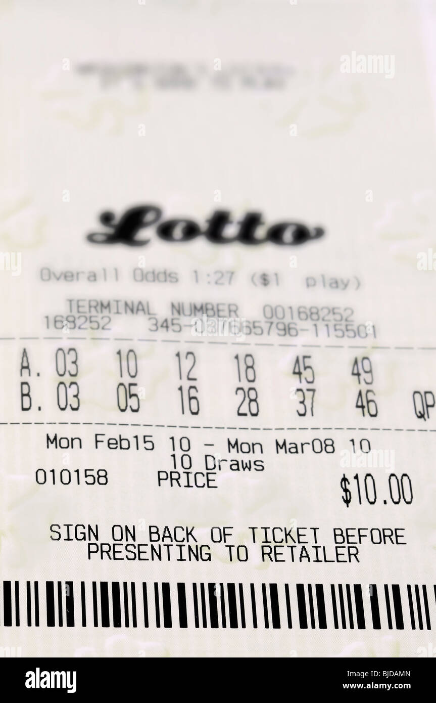 Closeup of lottery ticket - Stock Image