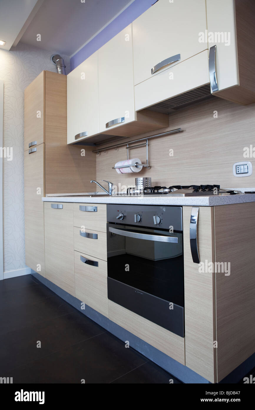 Modern Tiny Kitchen Wall In Small One Room Studio Apartment Stock Photo Alamy