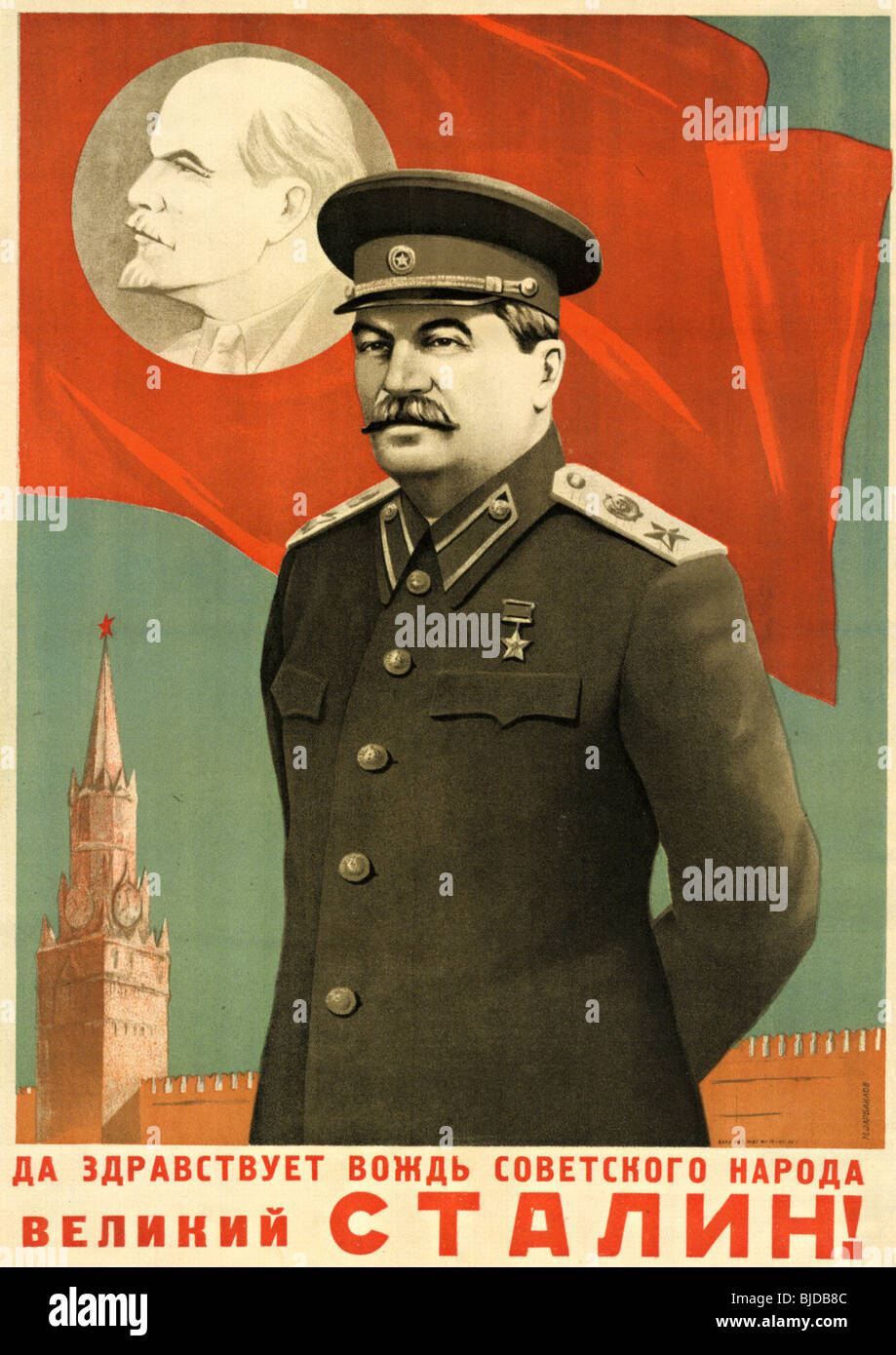 Stalin propaganda poster stock photos stalin propaganda poster joseph stalin 1947 poster proclaiming long live stalin leader of the soviet people thecheapjerseys Choice Image