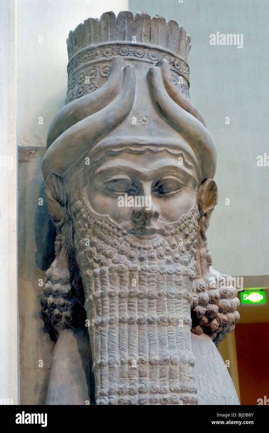 Paris, France - Art Objects in Louvre Museum, Babylon (Iraq)  8th c. B.C., Human Headed Bull, Genie Protector, Taureau Stock Photo