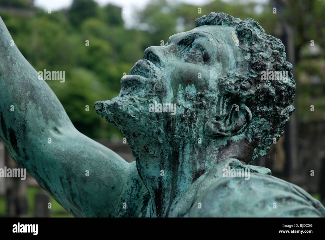Detail showing the head of a slave from the memorial to Scottish-Americans who fought in the American Civil War, Stock Photo