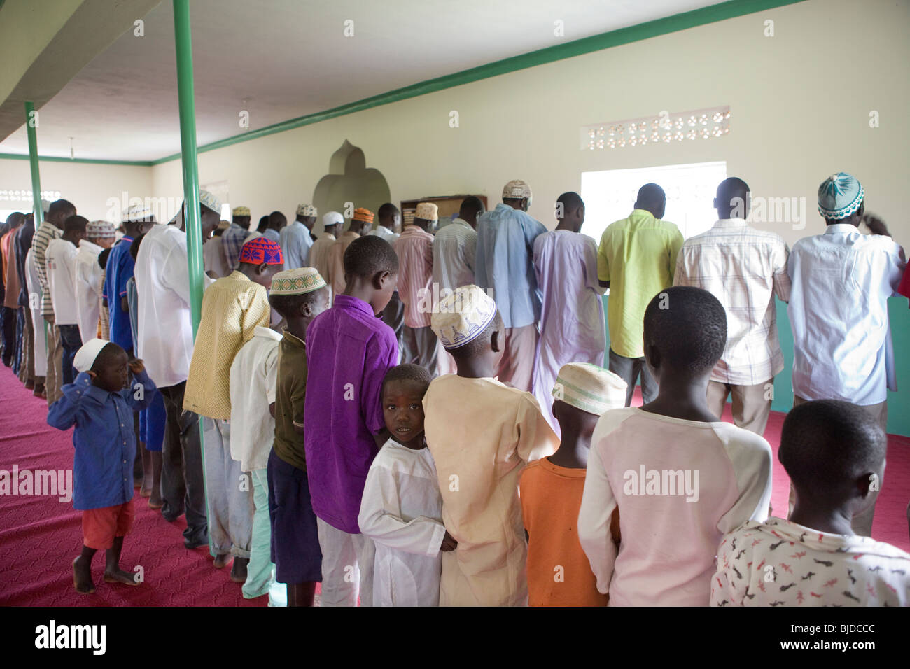 Friday prayers at a mosque in Amuria District, Teso Subregion, Uganda, East Africa - Stock Image