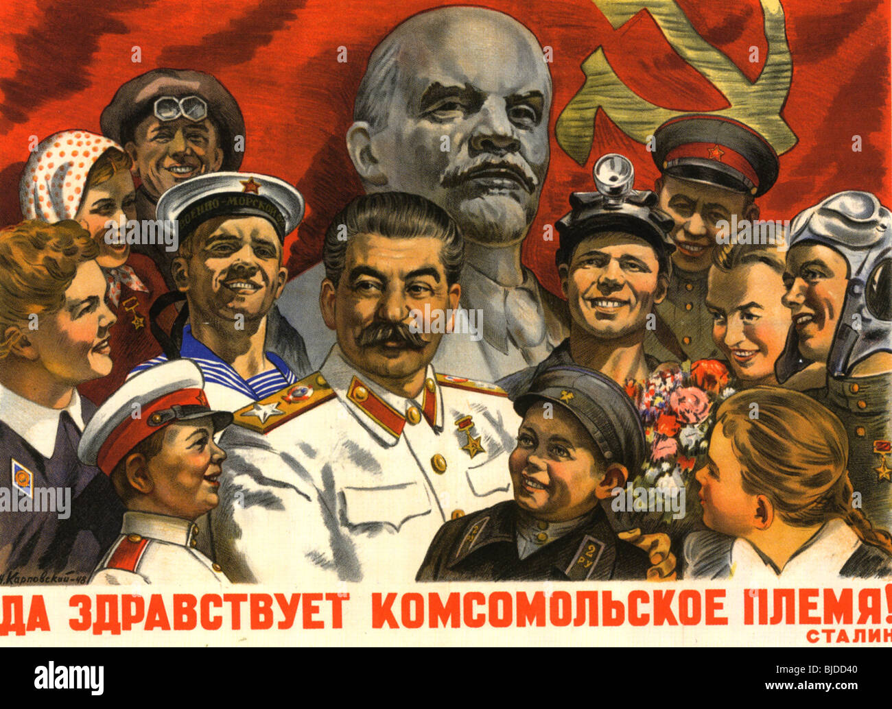 JOSEPH STALIN - 1948 USSR poster shows Stalin surrounded by admirers and the slogan 'Long Live The Komsomol - Stock Image