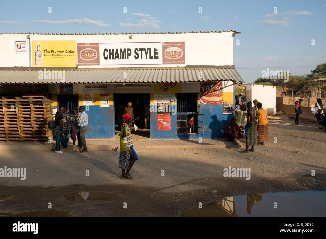 Opuwo bar, bottle store - Stock Image