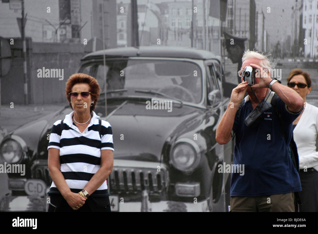 Checkpoint Charlie as tourist attraction, Berlin, Germany Stock Photo