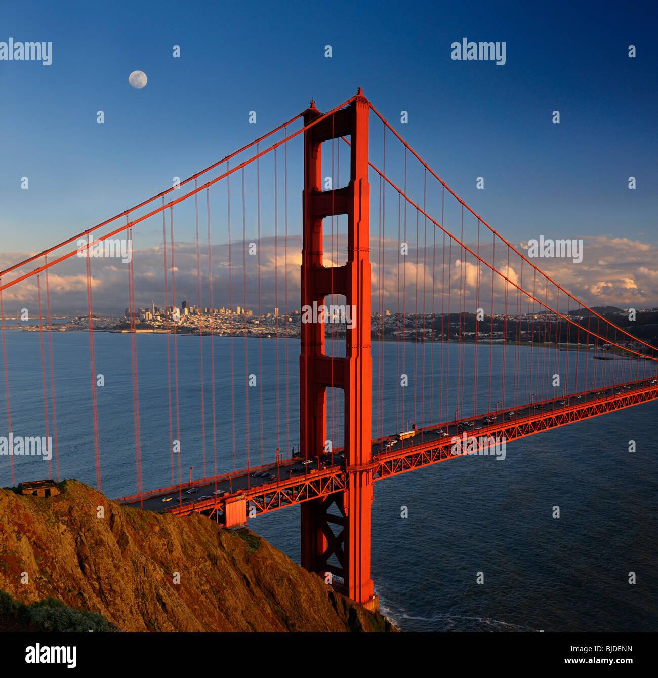 Golden Gate Bridge San Francisco California Sunset Picture: San Francisco Golden Gate Bridge Dusk Stock Photos & San