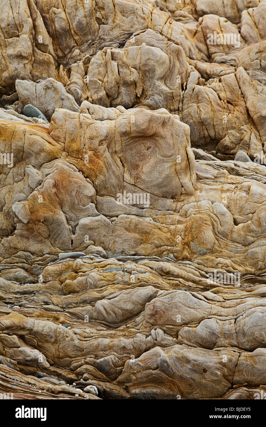 brown sedimentary rock background - Stock Image