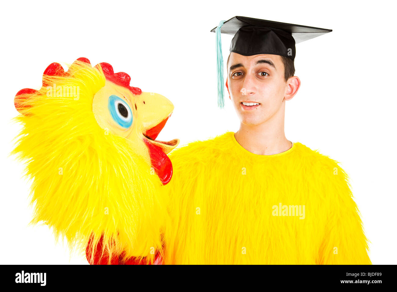 Recent high school or college graduate has to take a low wage job because of tight employment market. Isolated. Stock Photo