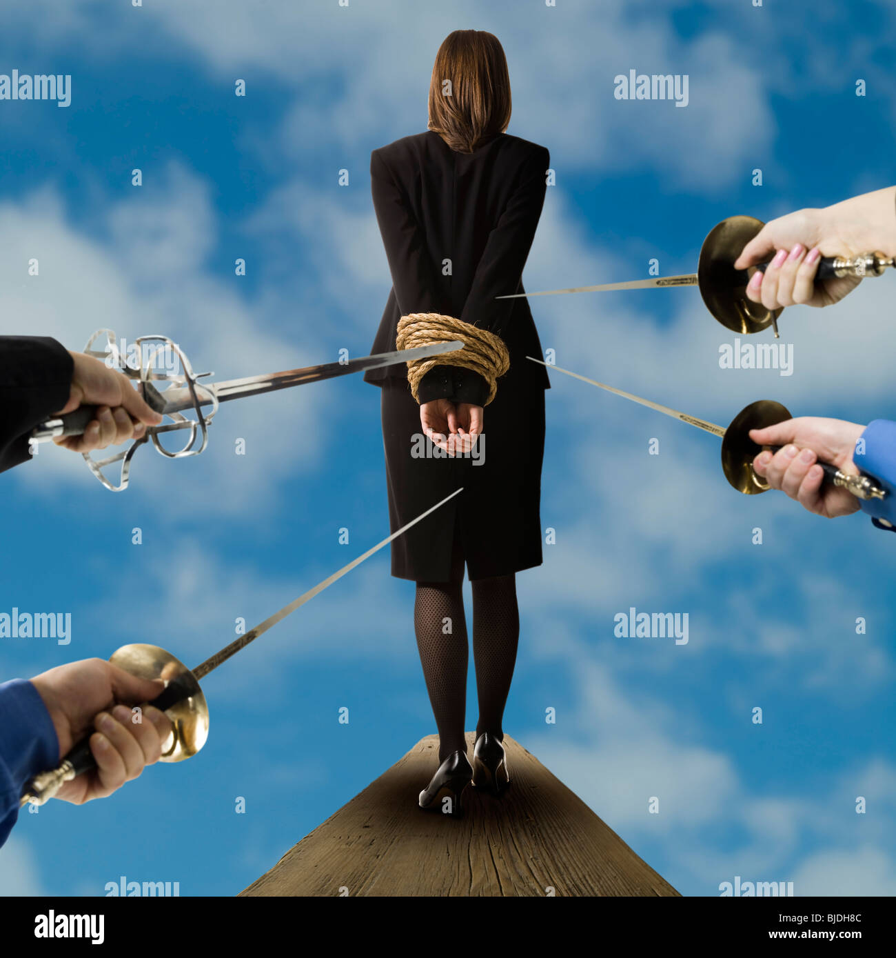 businessperson walking the plank - Stock Image