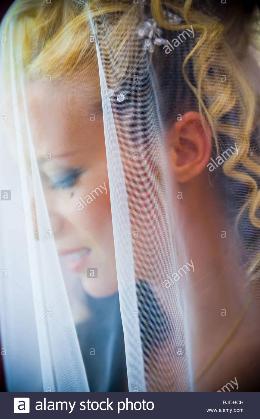 Bride with wedding veil - Stock Image