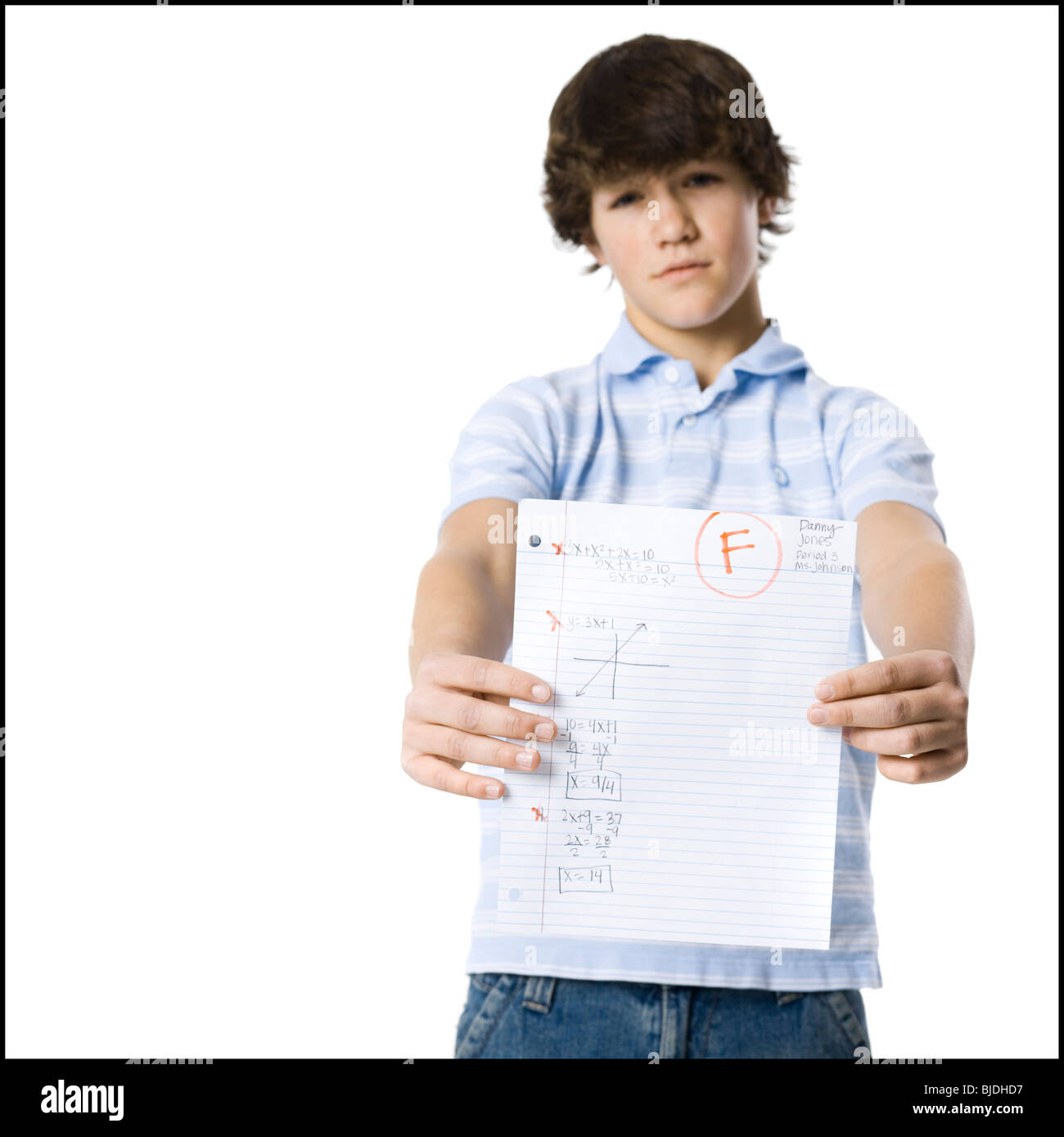 young man showing the grade he received - Stock Image