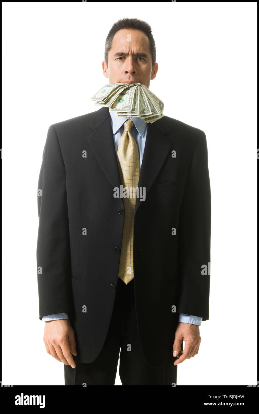 businessperson with a mouth full of money - Stock Image