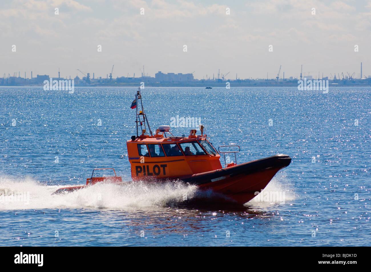 Pilot-boat in estuary of the River Neva, St Petersburg, Russia - Stock Image