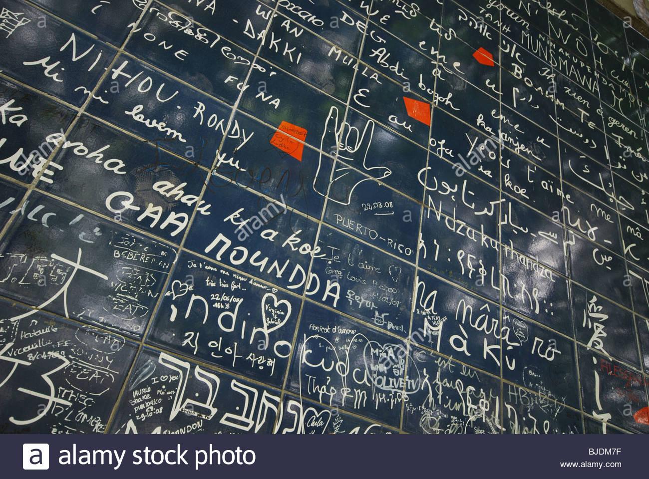 detail of Love Wall near Place des Abbesses Montmartre Paris France - Stock Image