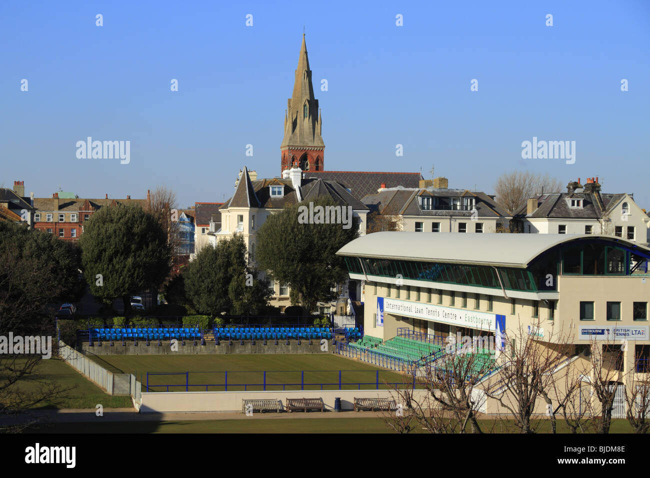 Eastbourne Lawn Tennis Center - venue for the annual AEGON International ladies and mens tennis competitions. - Stock Image