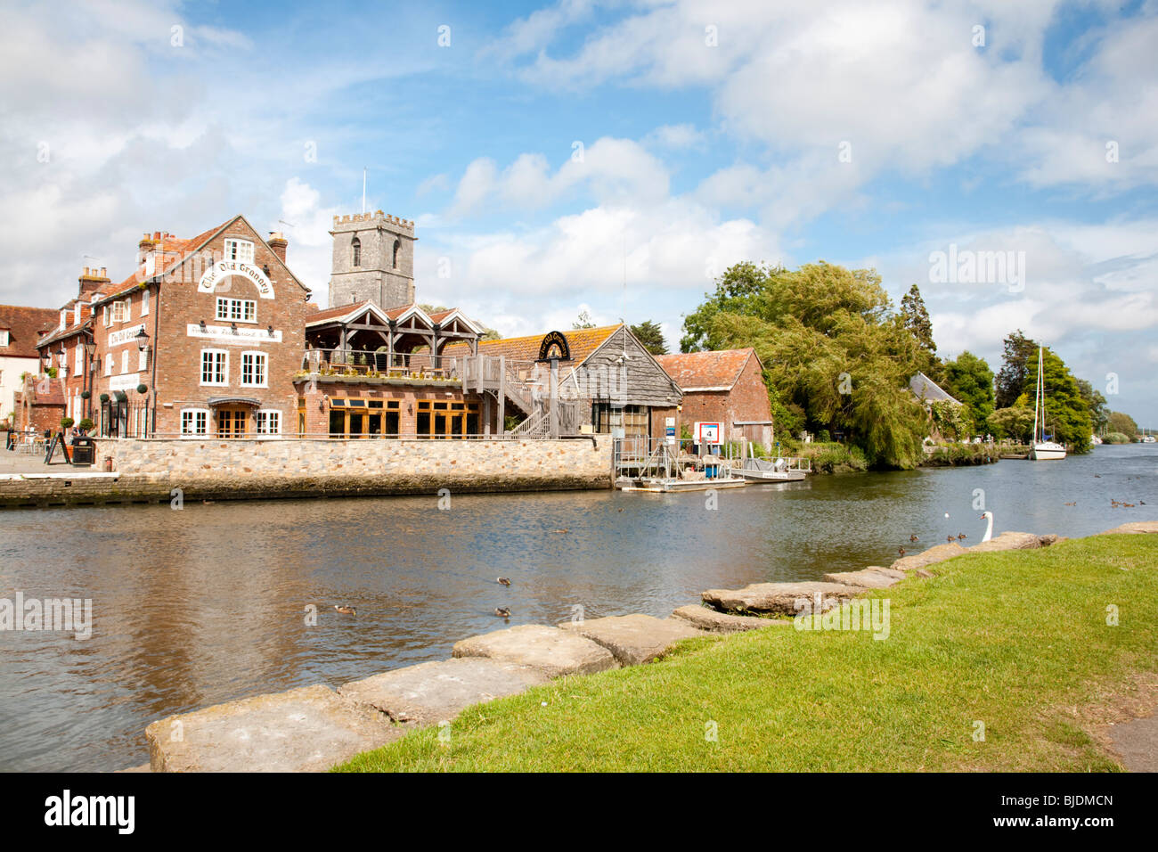 The River Frome and Old Granary at Wareham, Dorset England UK - Stock Image