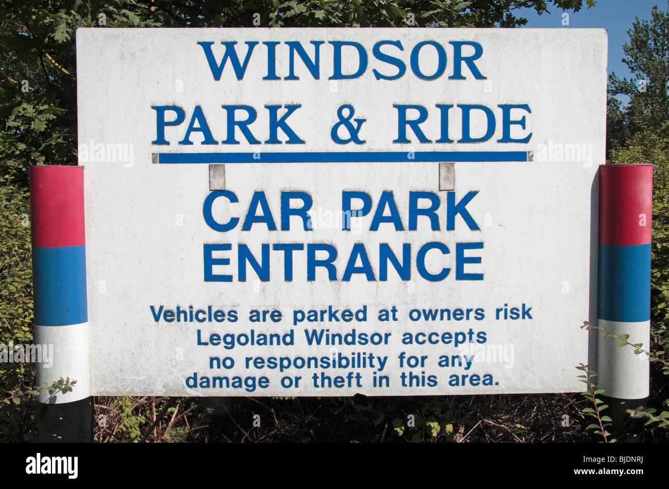 A Windsor Park and Ride entrance sign close to the Legoland Park entrance near Windsor, Surrey, UK. Stock Photo