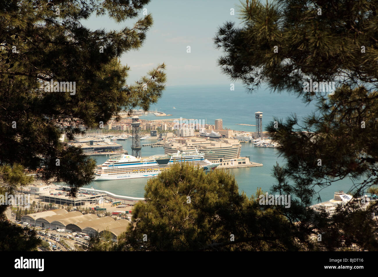 Sea view from Castell de Montjuic old military fortress on Montjuic Mountain Barcelona looking to docks. - Stock Image