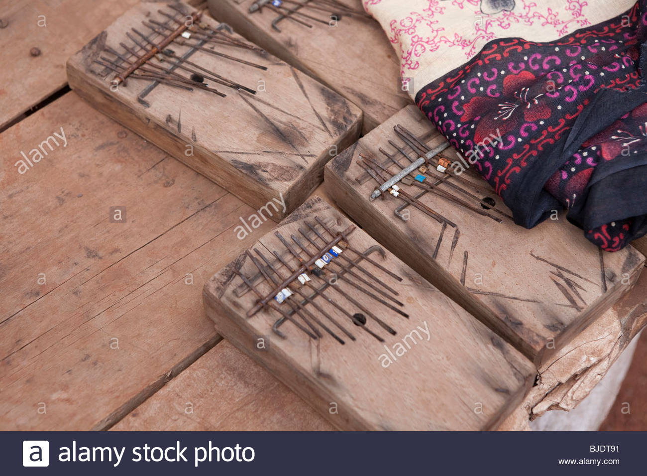 Primitive african music instruments. Tanzania. - Stock Image