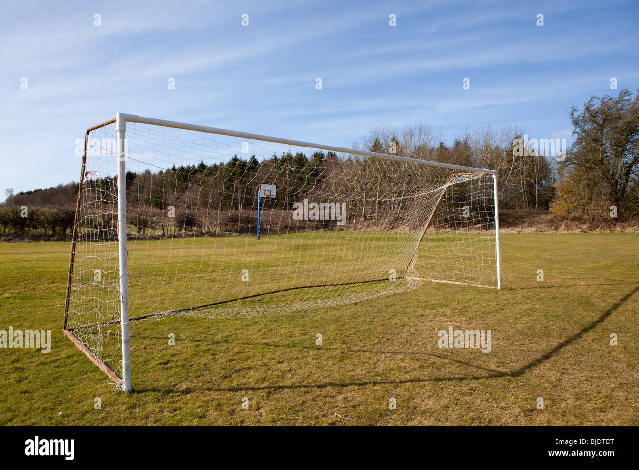Nets and goalposts on an empty Sunday League Football pitch - Stock Image