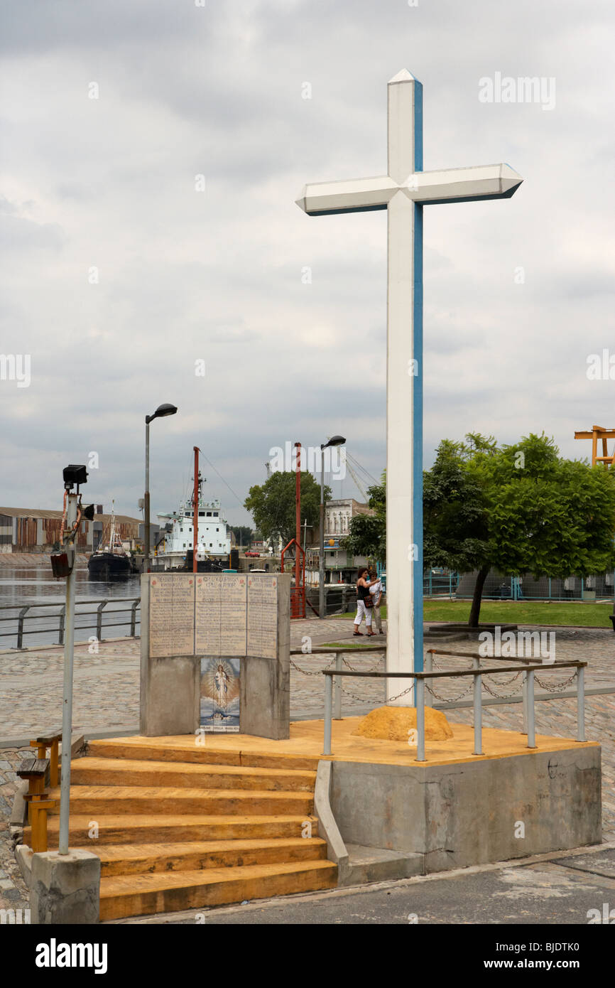 the glorious cross or cross of love in the harbour at la boca capital federal buenos aires republic of argentina - Stock Image