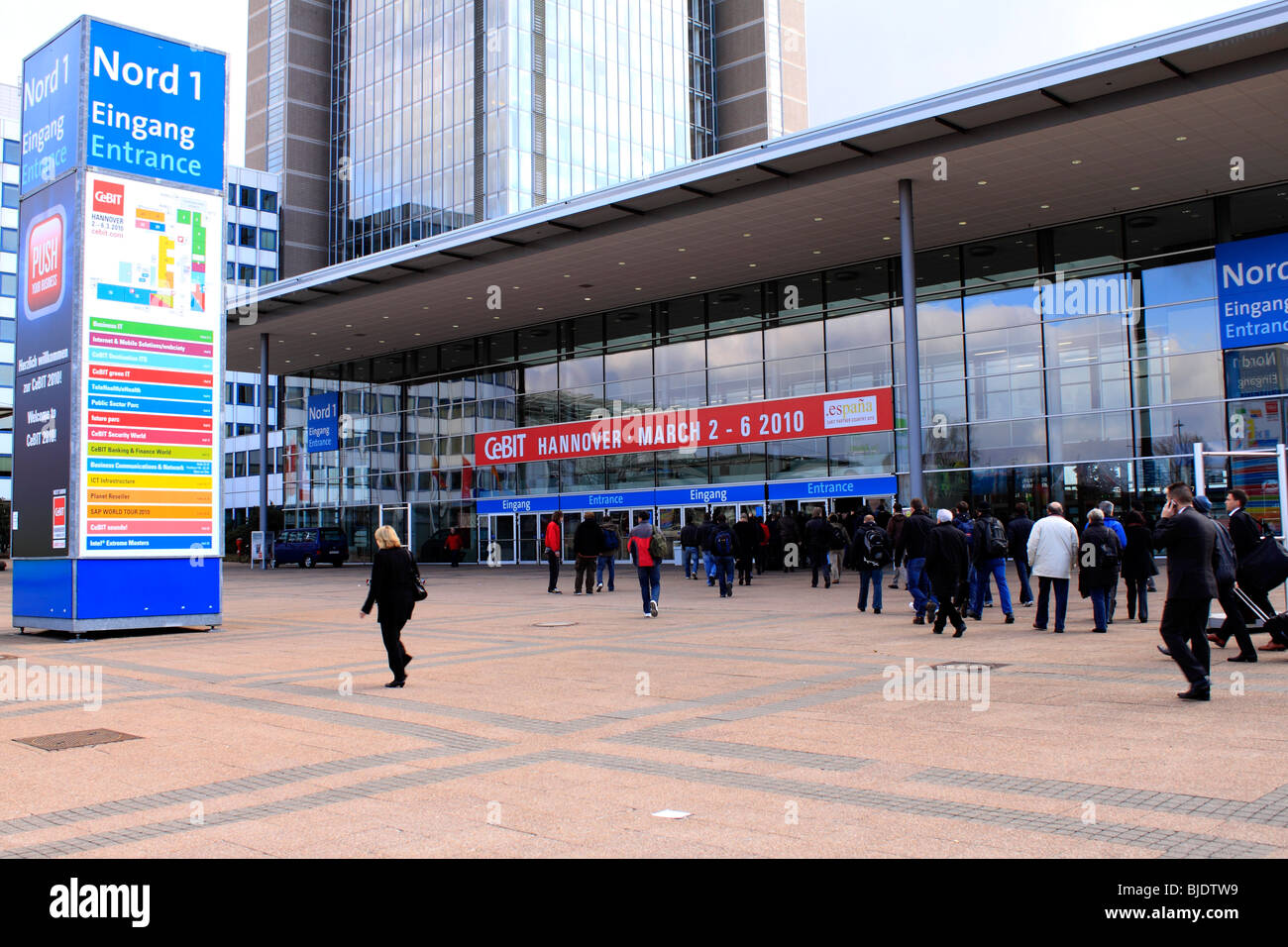 CeBIT 2010, world`s largest computer expo, entrance Nord 1. Federal Republic of Germany, Lower Saxony, Hanover, - Stock Image