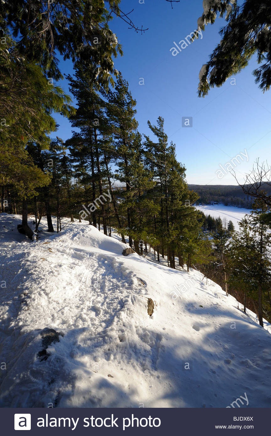 Mont Orford Park snowshoeing trail offers a vista on the valley and surrounding hills, on a sunny winter day - Stock Image