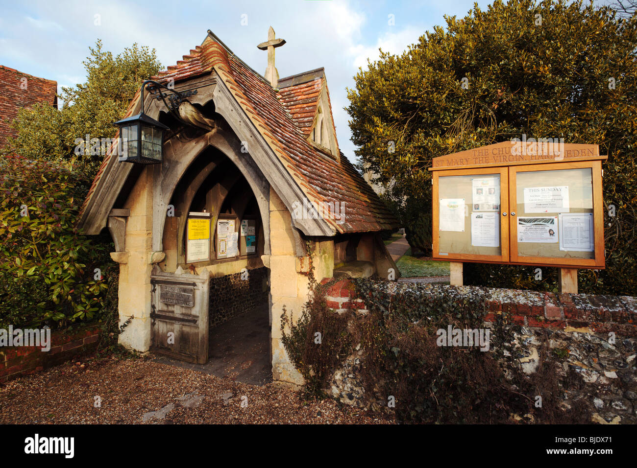 Hambleden Village Church porch and noticeboard Buckinghamshire England UK - Stock Image