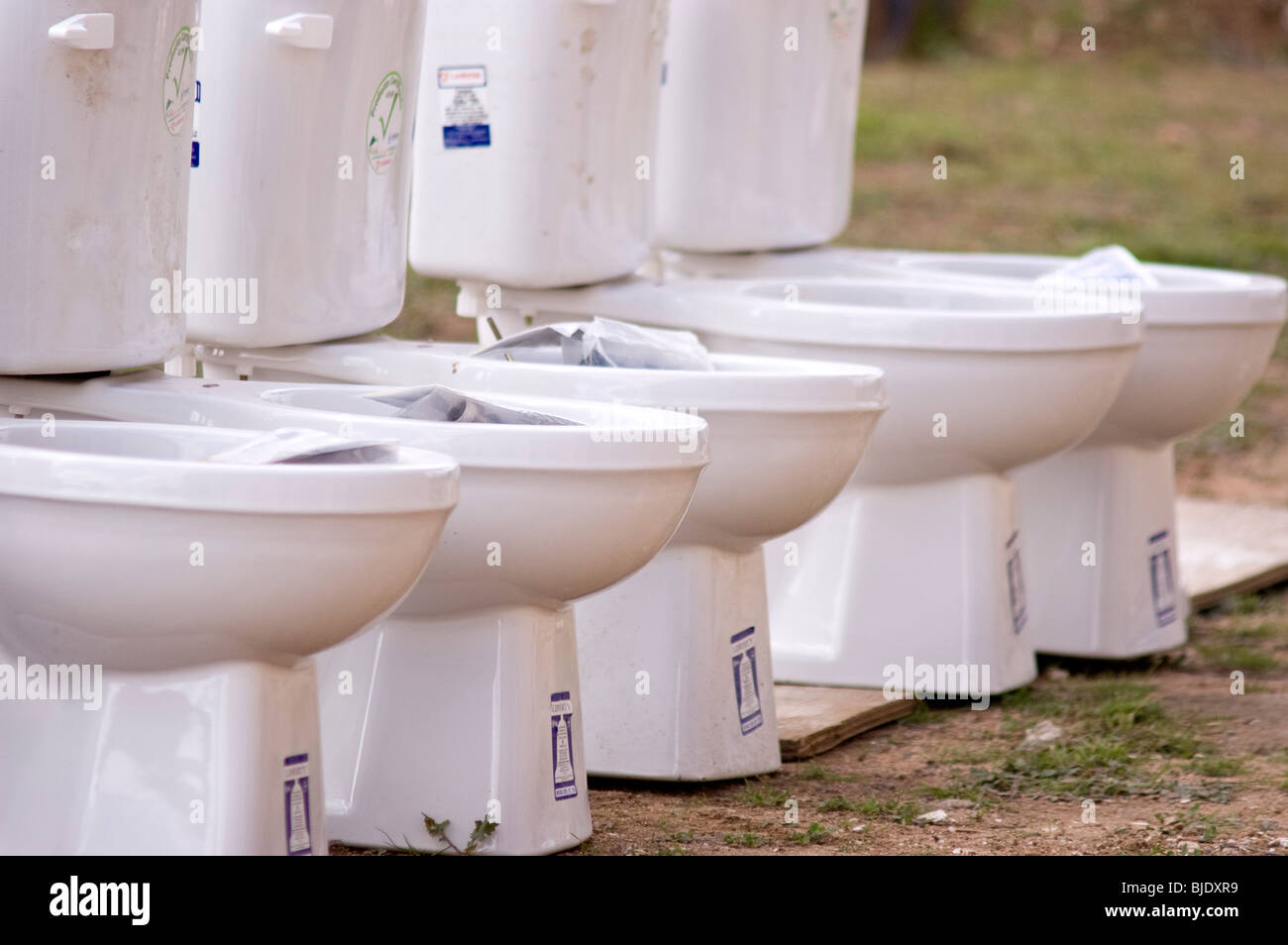 A row of toilets to be installed at the \