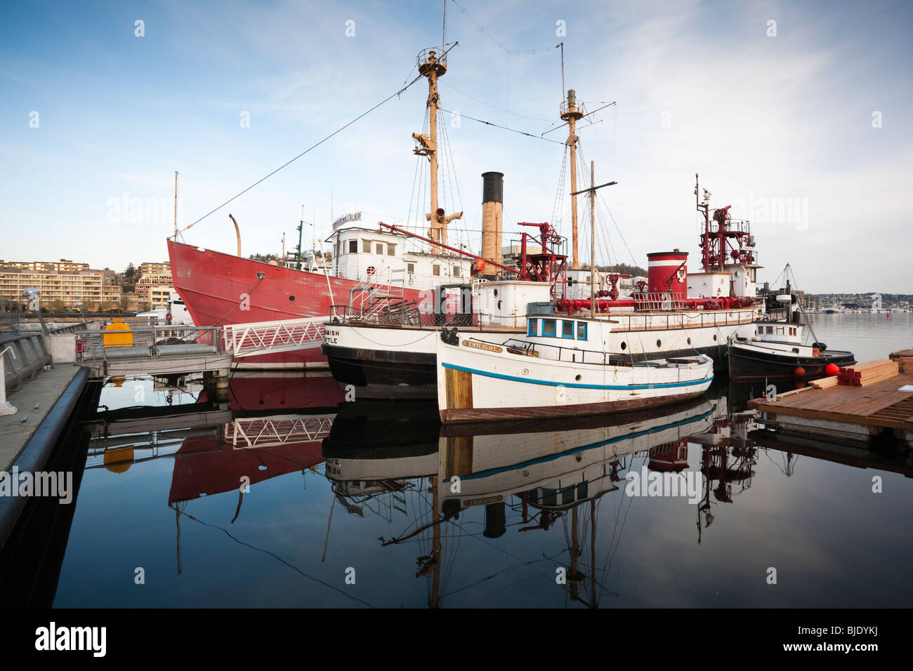 Historic Ships Docked at Heritage Wharf, Lake Union Park, South Lake Union, Seattle, Washington Stock Photo