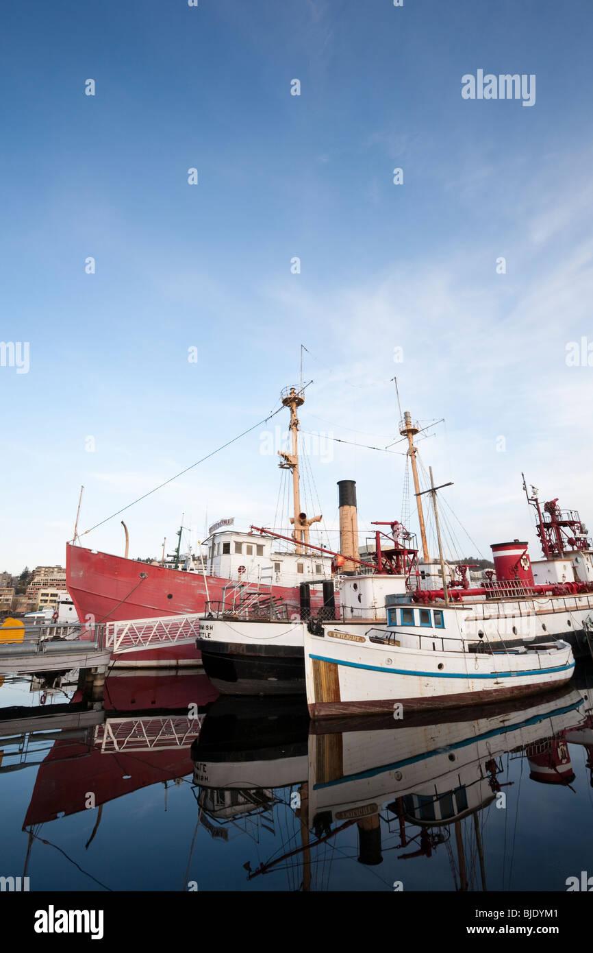 Boats Docked at Heritage Wharf, Lake Union Park, South Lake Union, Seattle, Washington Stock Photo
