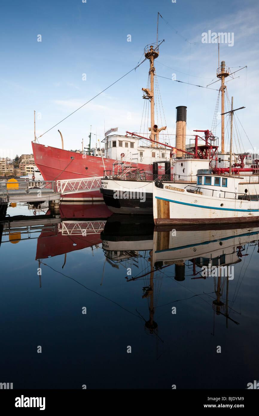 Boats Docked at Heritage Warf, Lake Union Park, South Lake Union, Seattle, Washington Stock Photo