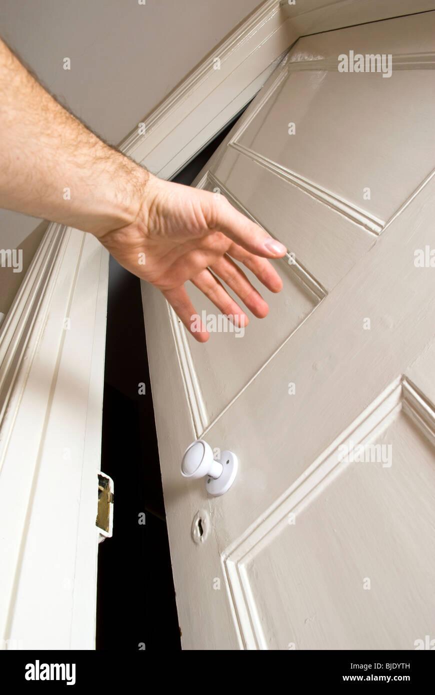 hand opening door - Stock Image