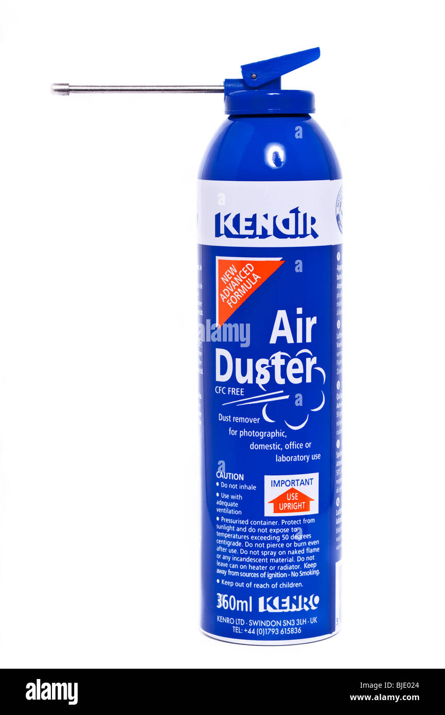 A can of Kenro Kenair compressed air duster for photographic equipment dust removal on a white background - Stock Image