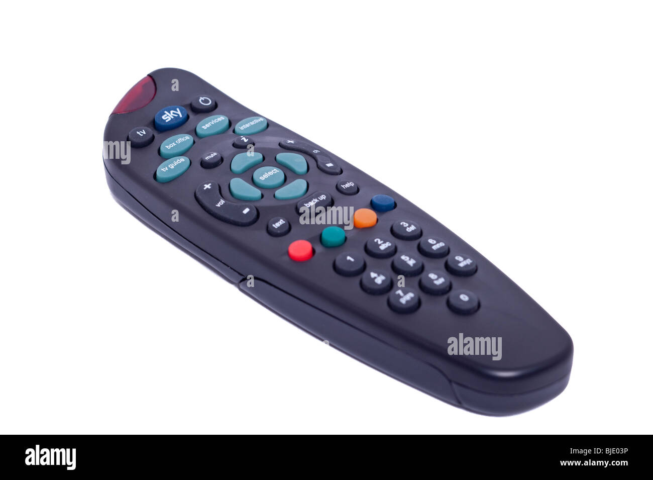 A Sky tv telly remote control on a white background - Stock Image