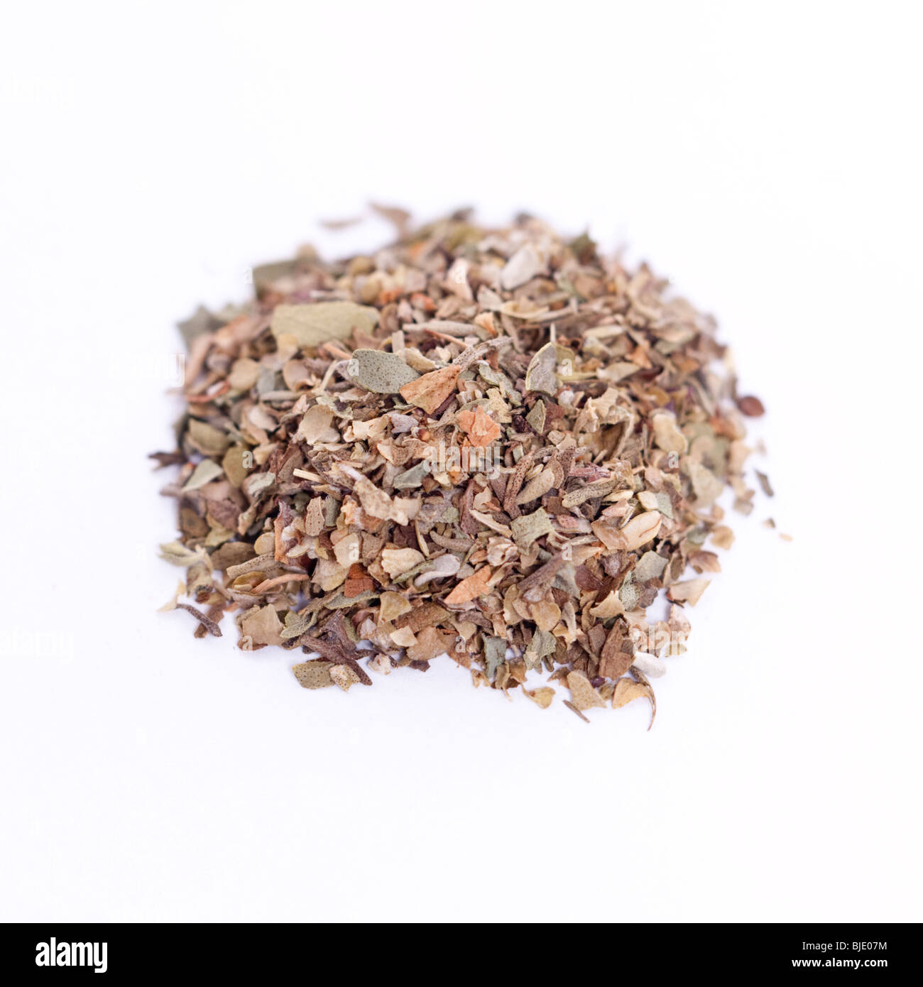 A pile of mixed herbs on a white background Stock Photo