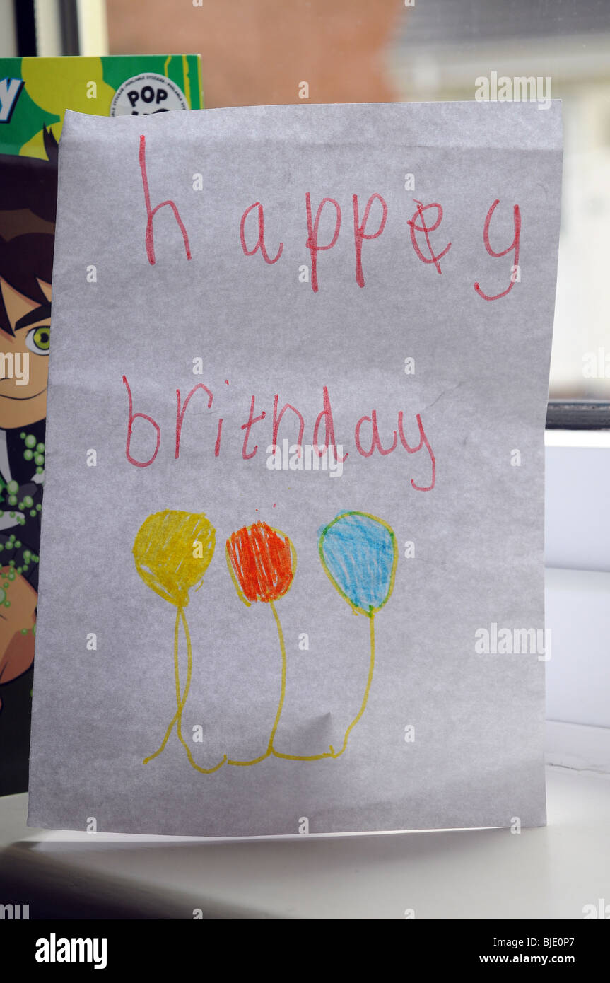 Happy Birthday card written by a child - Stock Image