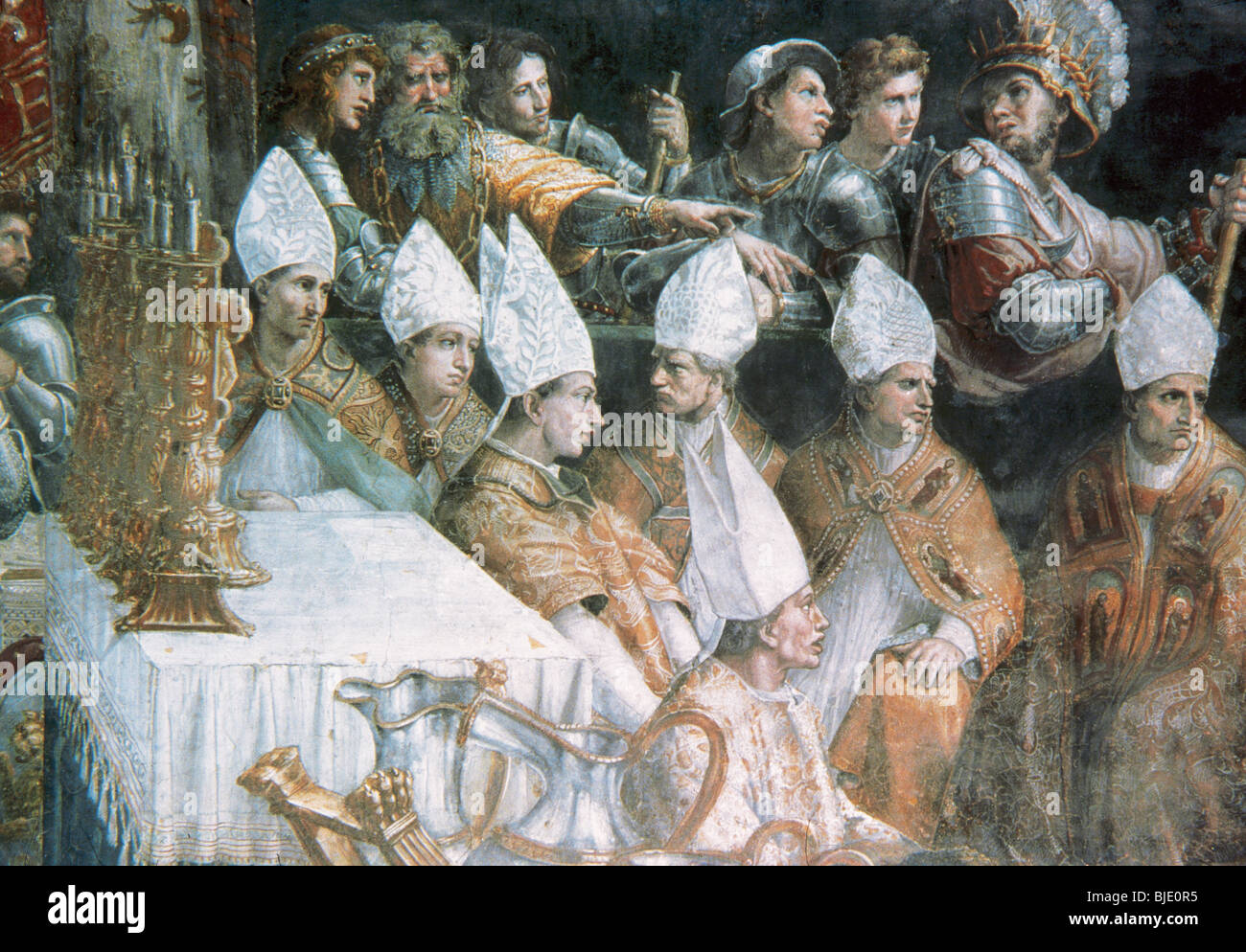Raphael, Raffaello Santi or Sanzio, called (Urbino, 1483-Rome, 1520). Italian painter. Coronation of Charlemagne. - Stock Image