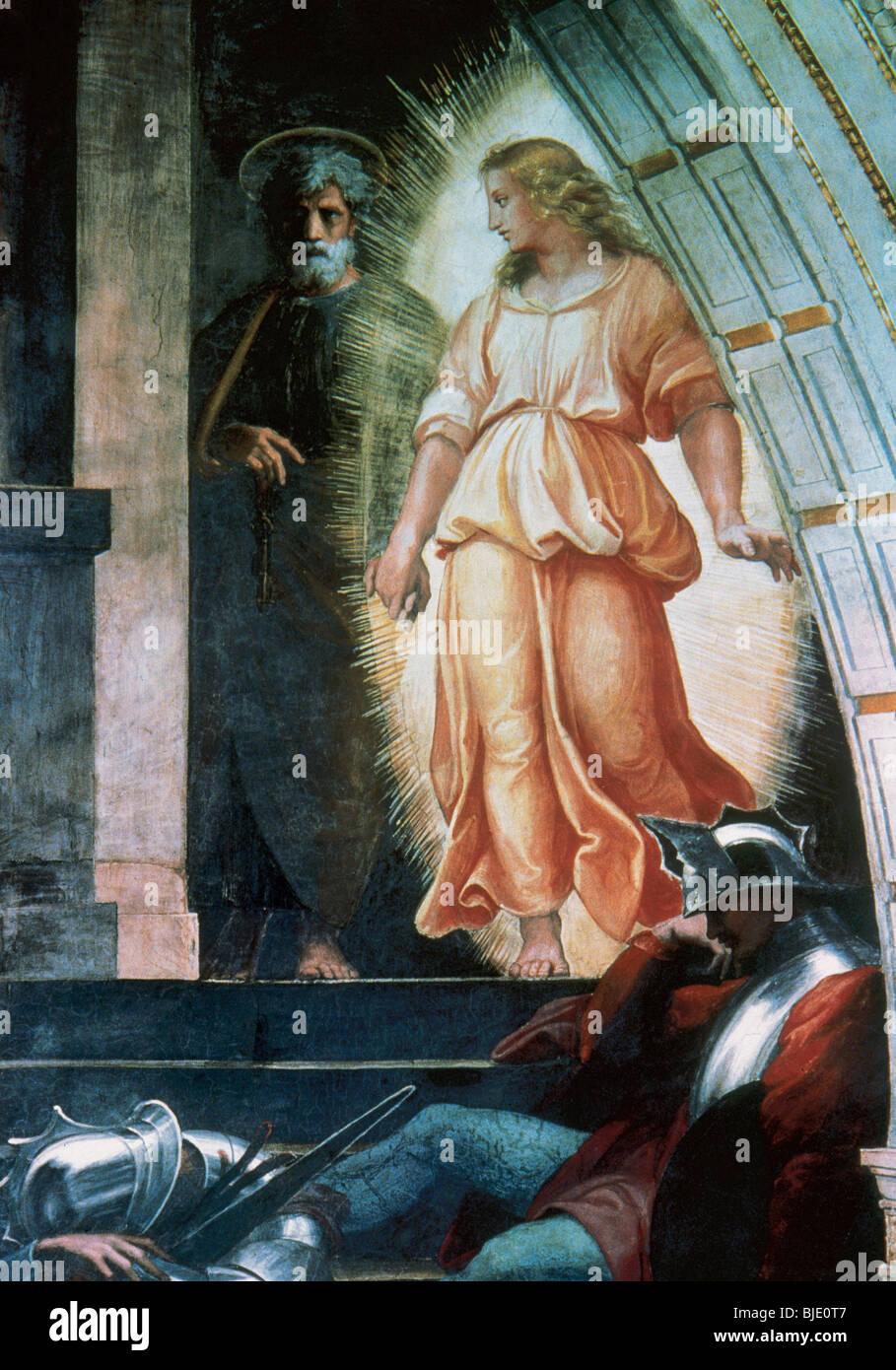 Raphael, Raffaello Santi or Sanzio, called (Urbino, 1483-Rome, 1520). Italian painter. Liberation of St. Peter. - Stock Image