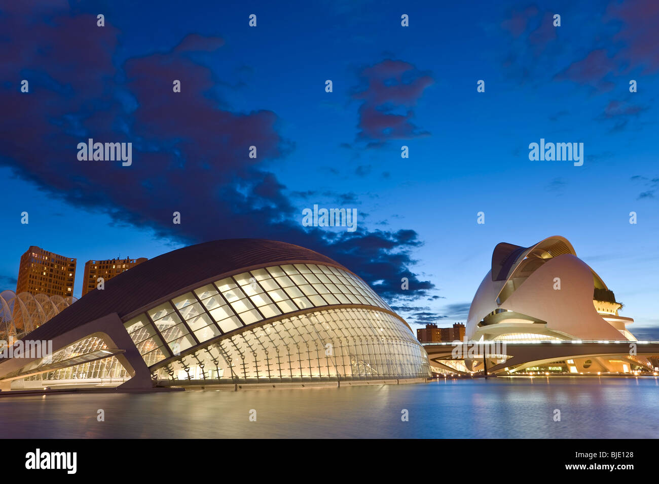 Spain Valencia the City of Arts and Sciences building Ciudad de las Artes y de las Ciencias a combined science museum - Stock Image